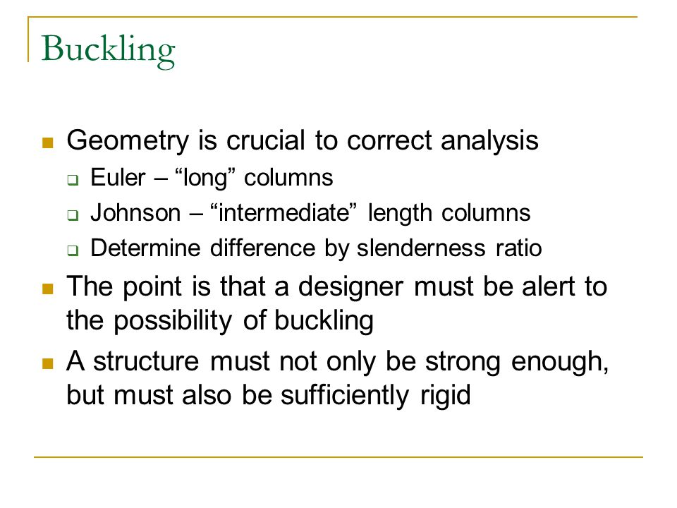 Buckling Geometry is crucial to correct analysis