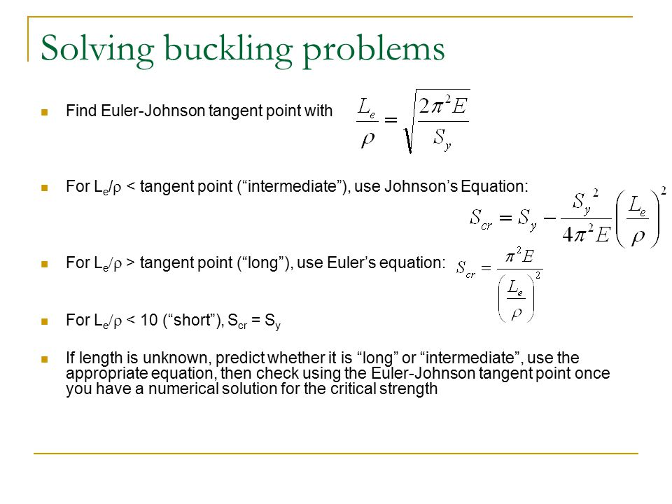 Solving buckling problems