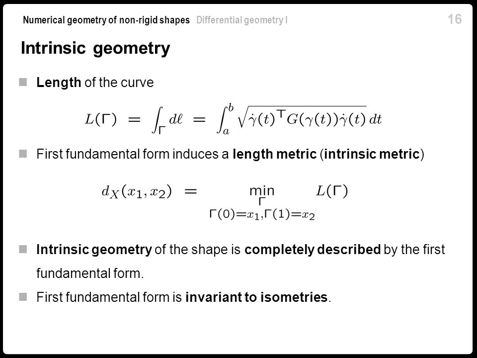 Intrinsic geometry Length of the curve
