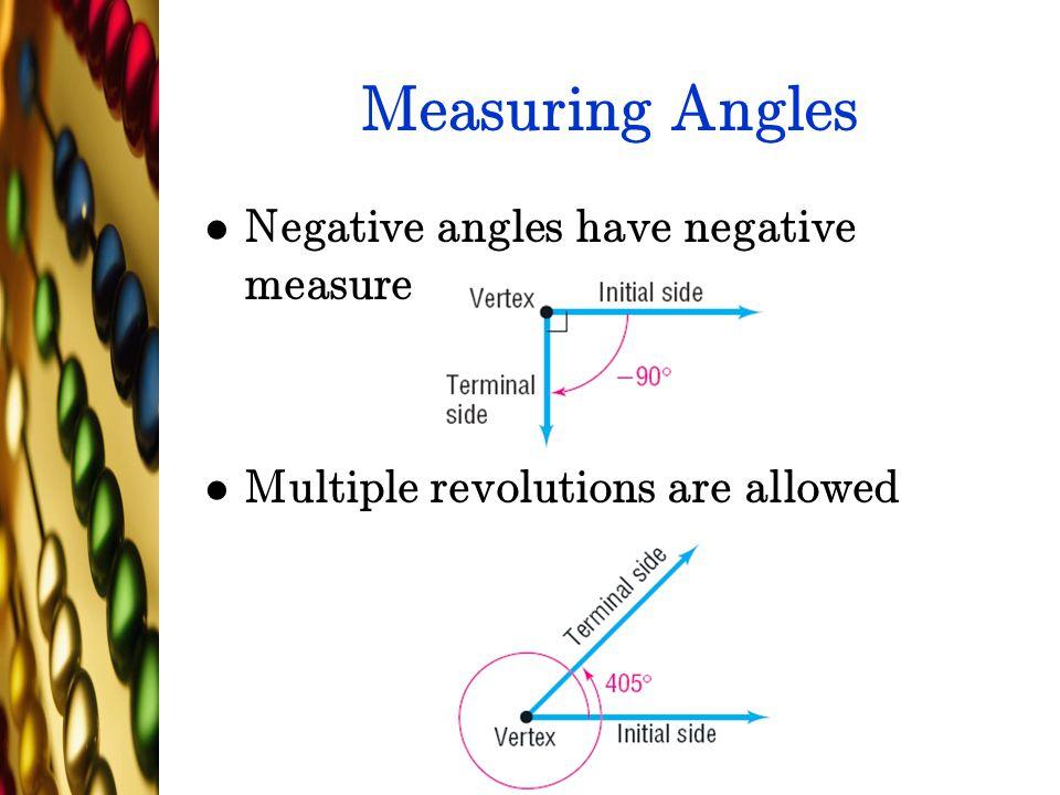 Measuring Angles Negative angles have negative measure