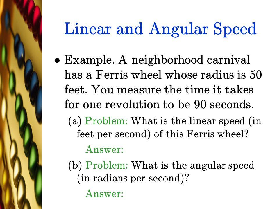 Linear and Angular Speed
