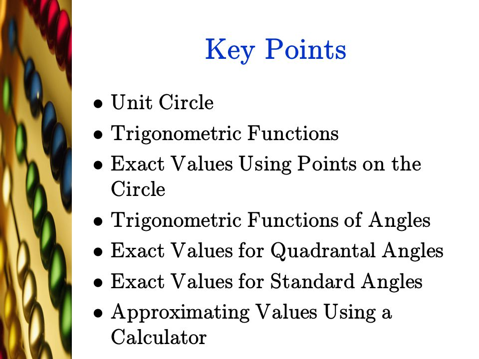 Key Points Unit Circle Trigonometric Functions