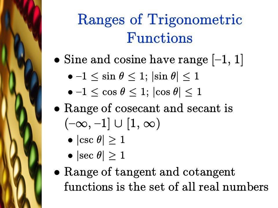 Ranges of Trigonometric Functions