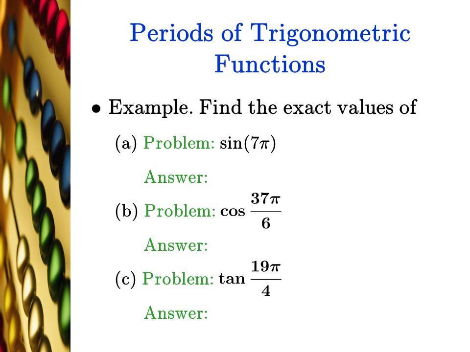 Periods of Trigonometric Functions