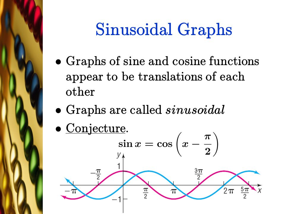 Sinusoidal Graphs Graphs of sine and cosine functions appear to be translations of each other. Graphs are called sinusoidal.