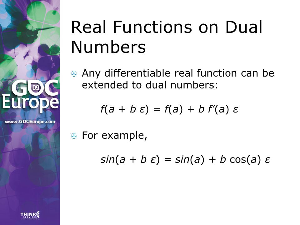 Real Functions on Dual Numbers