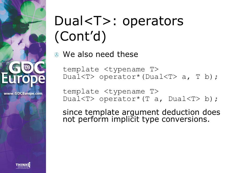 Dual<T>: operators (Cont'd)