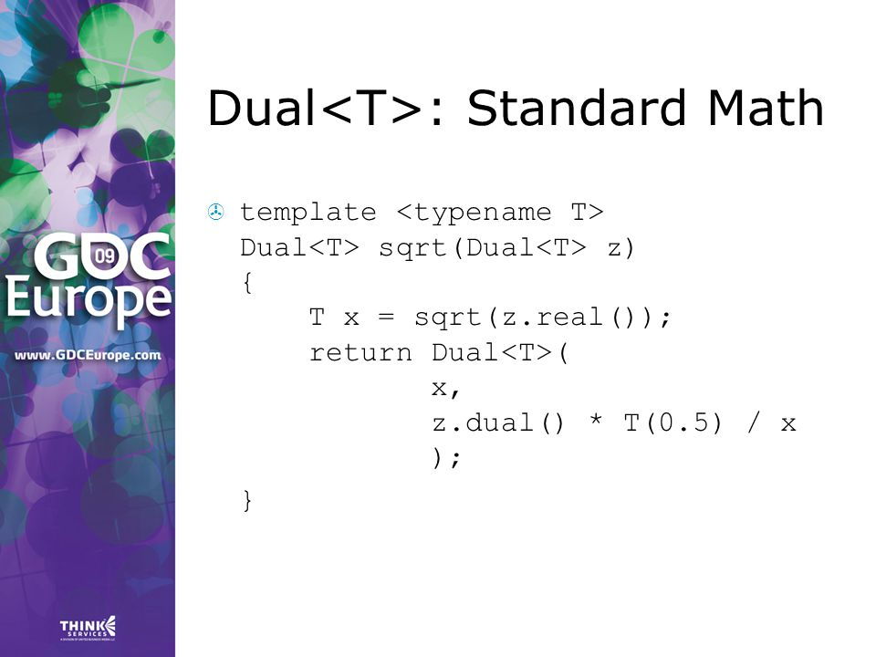 Dual<T>: Standard Math