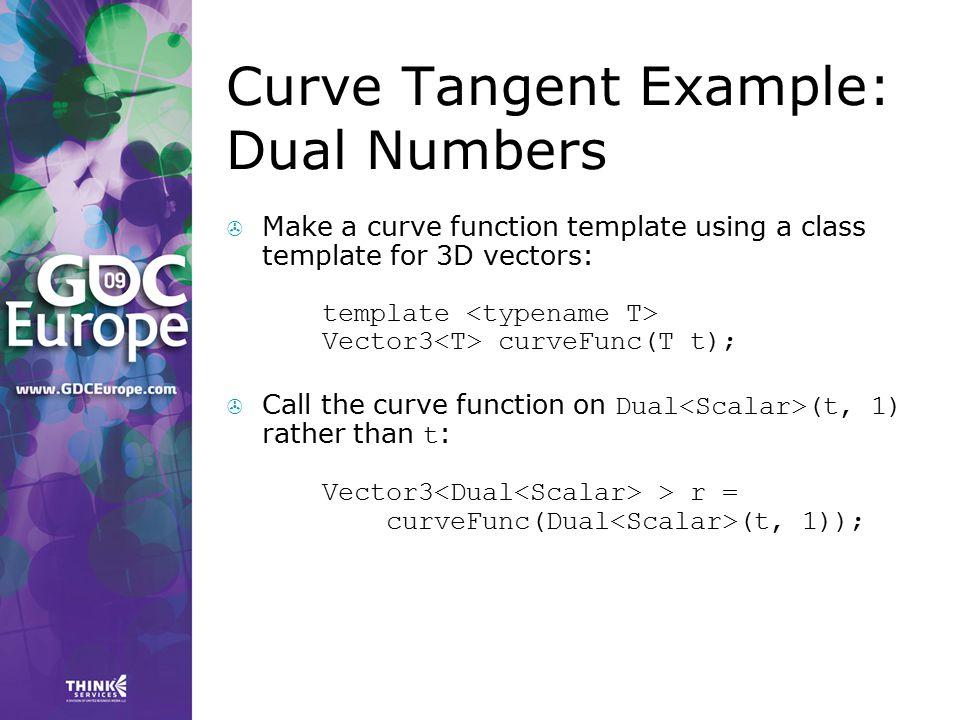 Curve Tangent Example: Dual Numbers