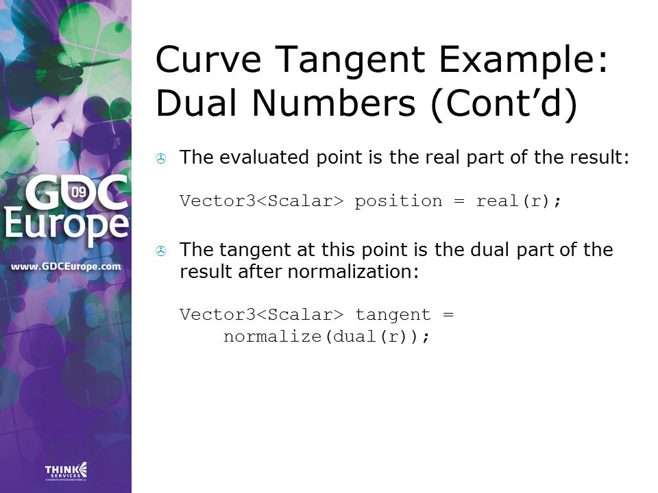 Curve Tangent Example: Dual Numbers (Cont'd)