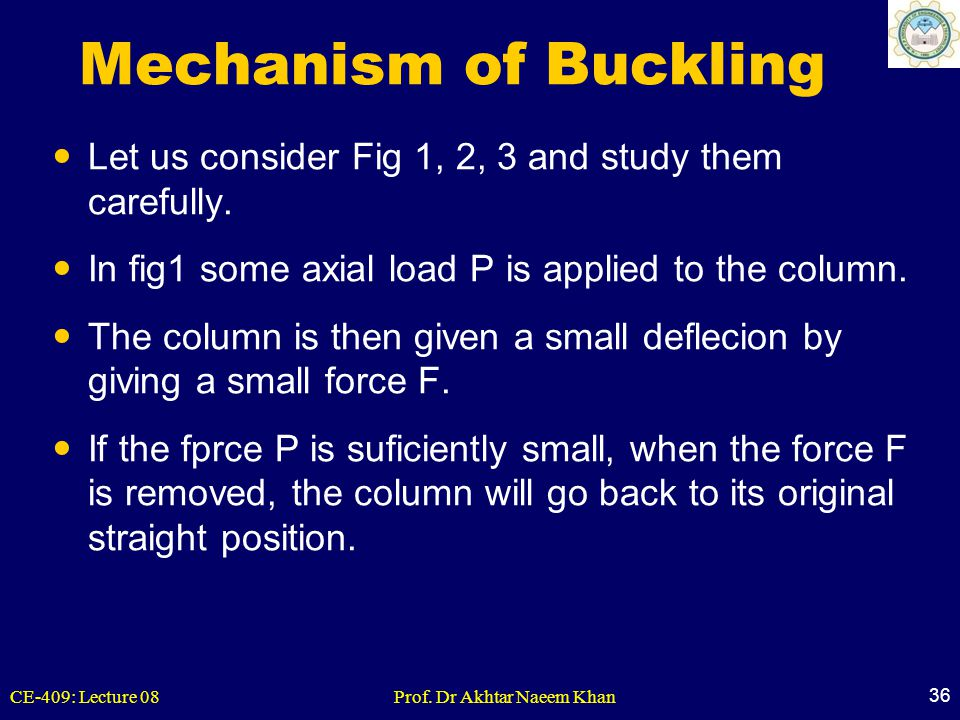 Mechanism of Buckling Let us consider Fig 1, 2, 3 and study them carefully. In fig1 some axial load P is applied to the column.