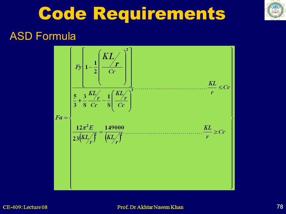 Code Requirements ASD Formula