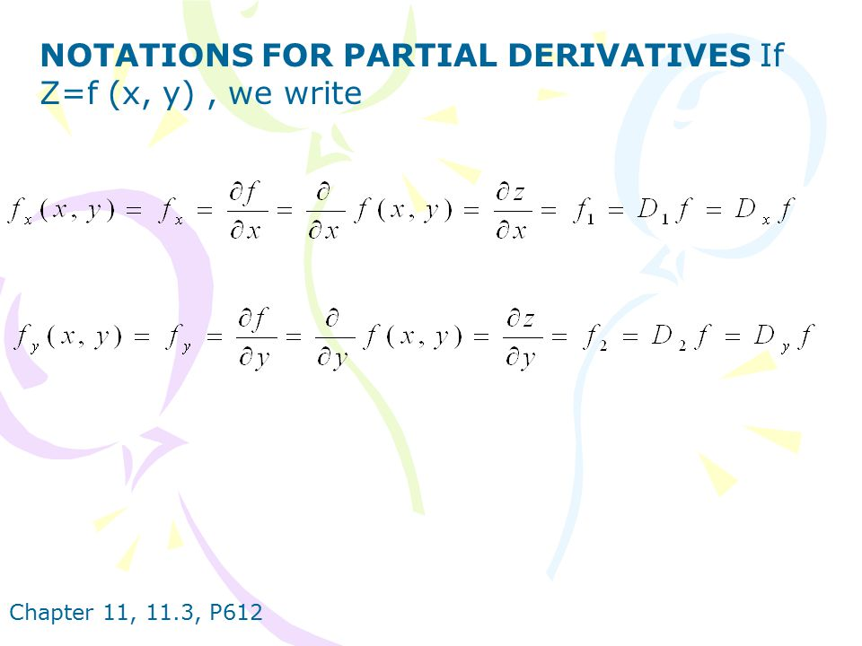NOTATIONS FOR PARTIAL DERIVATIVES If Z=f (x, y) , we write