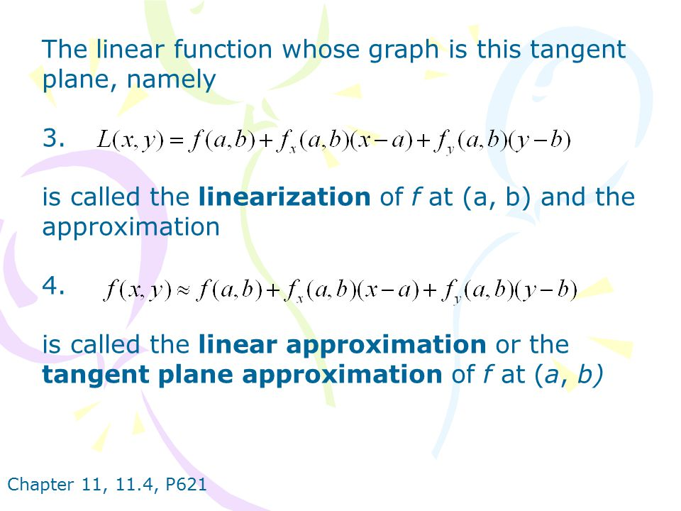 The linear function whose graph is this tangent plane, namely