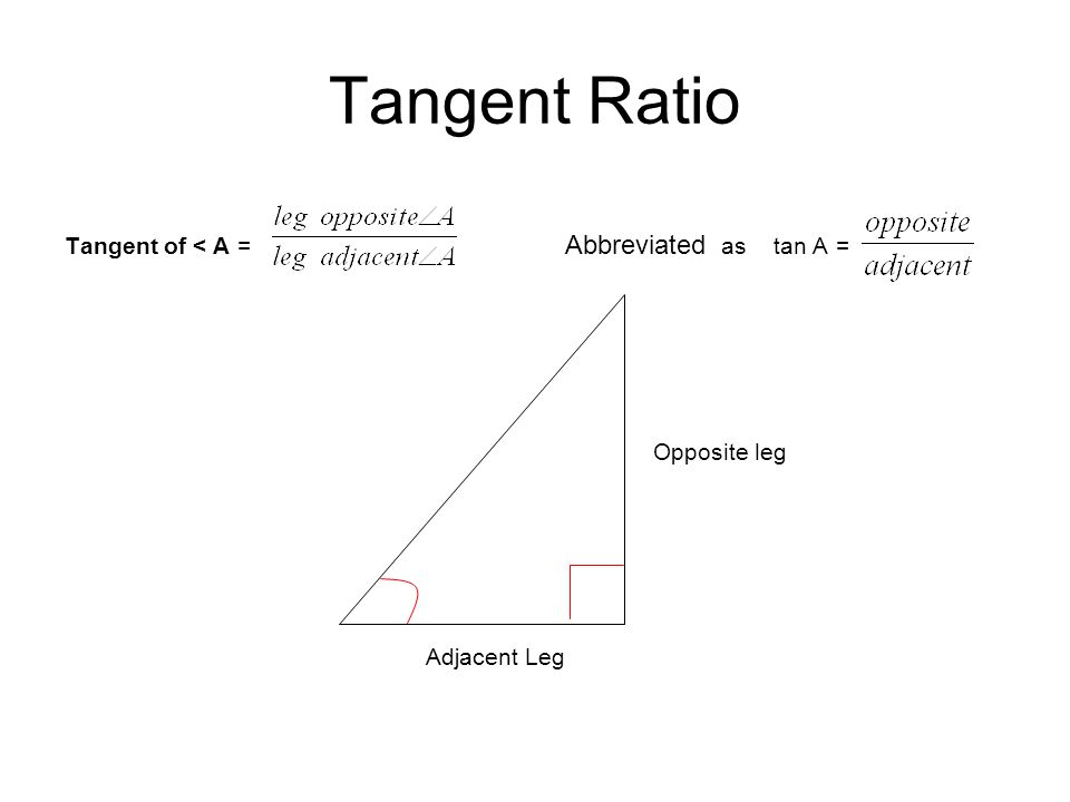 Tangent Ratio Tangent of < A = Abbreviated as tan A = Opposite leg