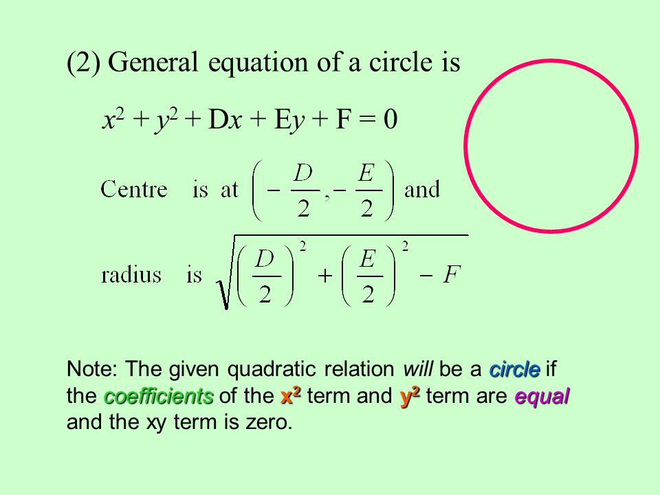 (2) General equation of a circle is