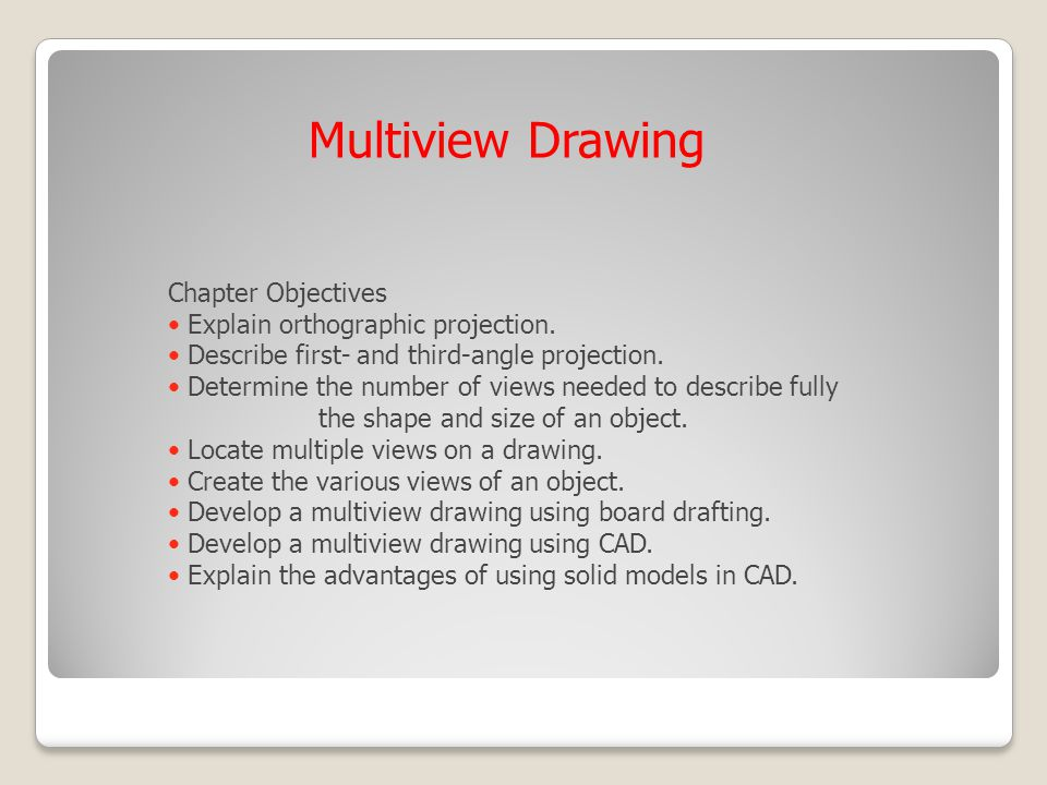 Multiview Drawing Chapter Objectives Explain orthographic projection.