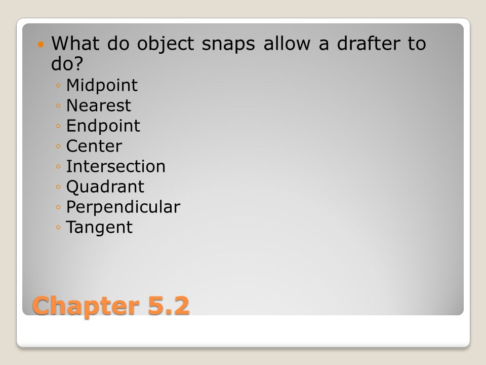Chapter 5.2 What do object snaps allow a drafter to do Midpoint
