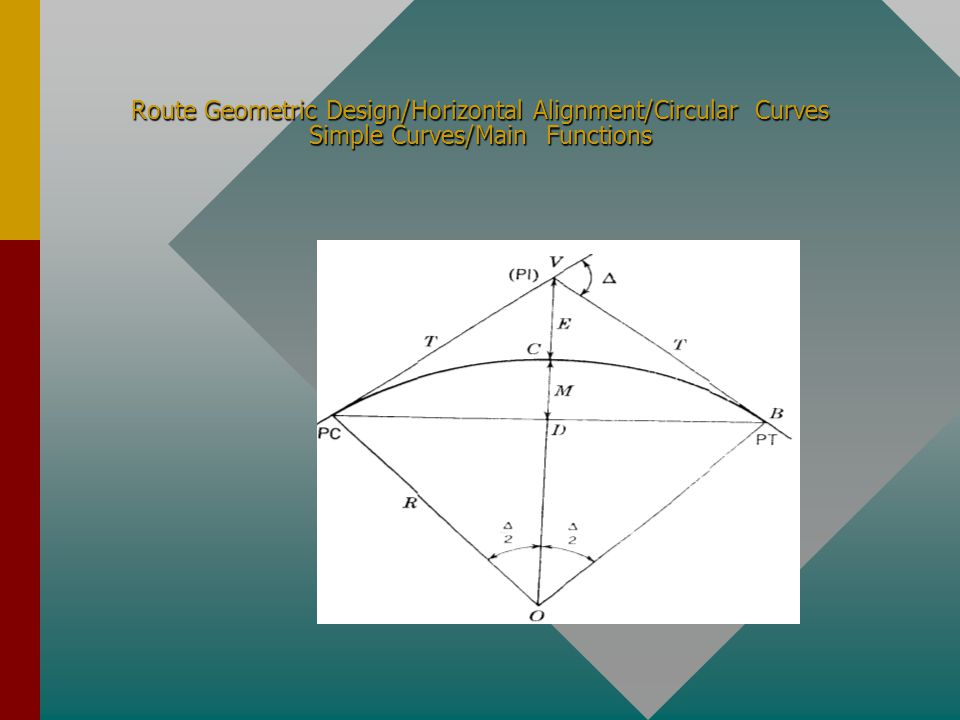 Route Geometric Design/Horizontal Alignment/Circular Curves Simple Curves/Main Functions