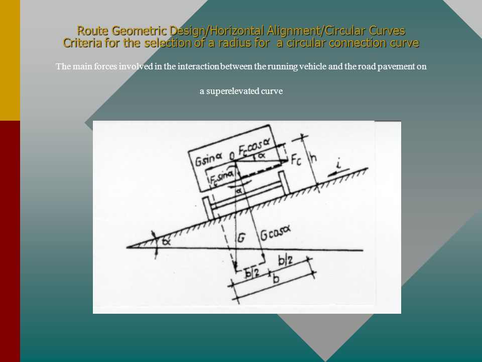Route Geometric Design/Horizontal Alignment/Circular Curves Criteria for the selection of a radius for a circular connection curve The main forces involved in the interaction between the running vehicle and the road pavement on a superelevated curve