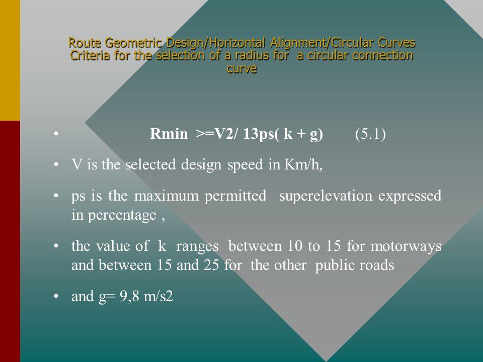 Rmin >=V2/ 13ps( k + g) (5.1)