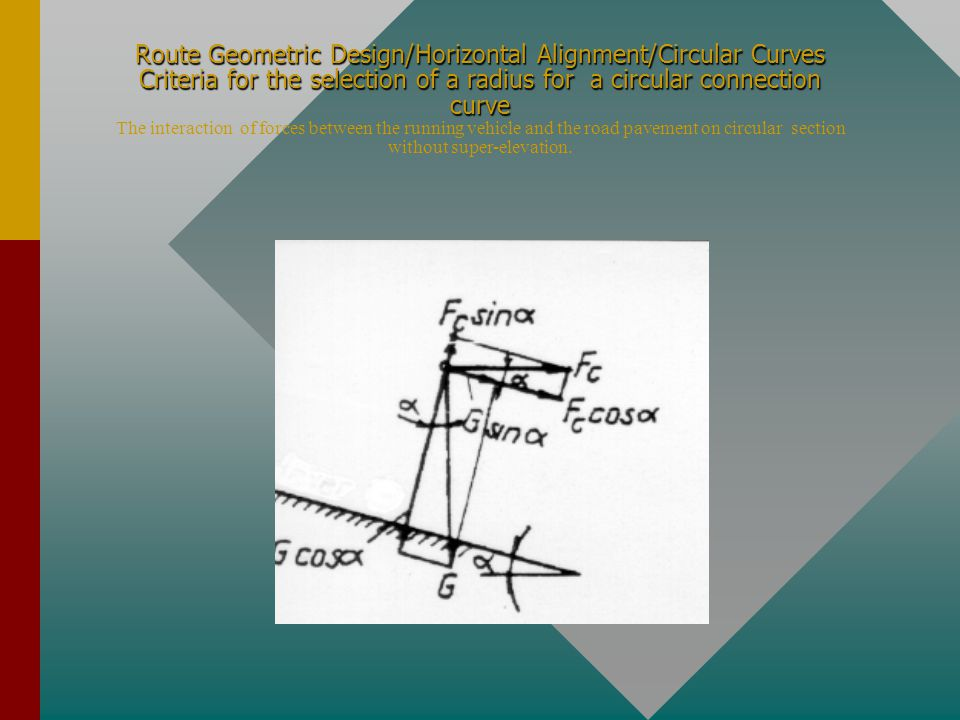Route Geometric Design/Horizontal Alignment/Circular Curves Criteria for the selection of a radius for a circular connection curve The interaction of forces between the running vehicle and the road pavement on circular section without super-elevation.