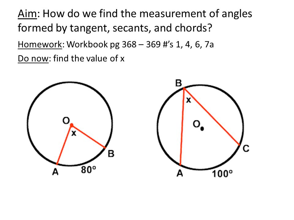 Aim: How do we find the measurement of angles formed by tangent, secants, and chords