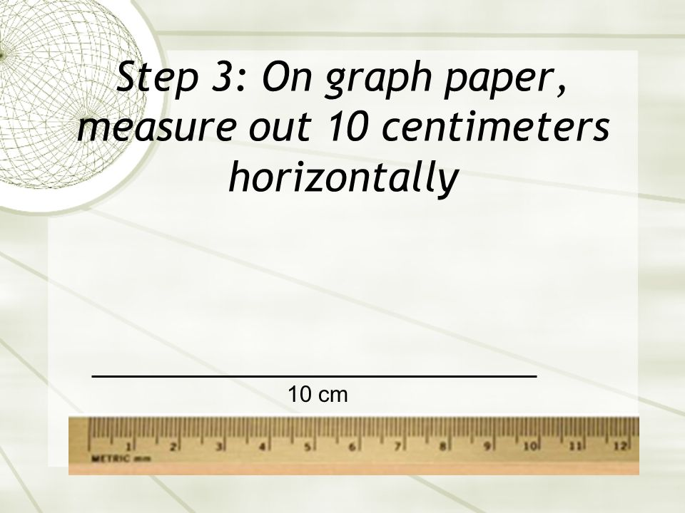 Step 3: On graph paper, measure out 10 centimeters horizontally