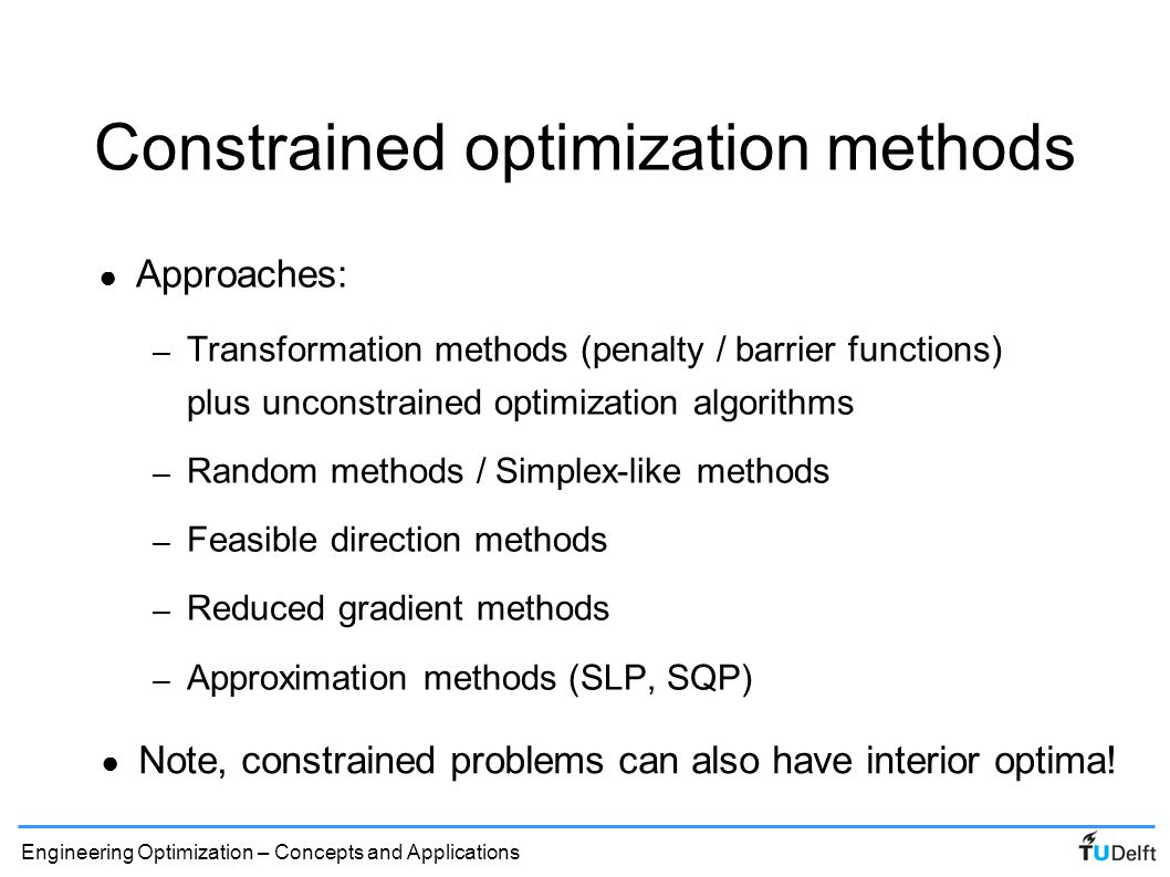 Constrained optimization methods