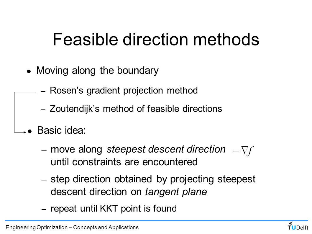 Feasible direction methods