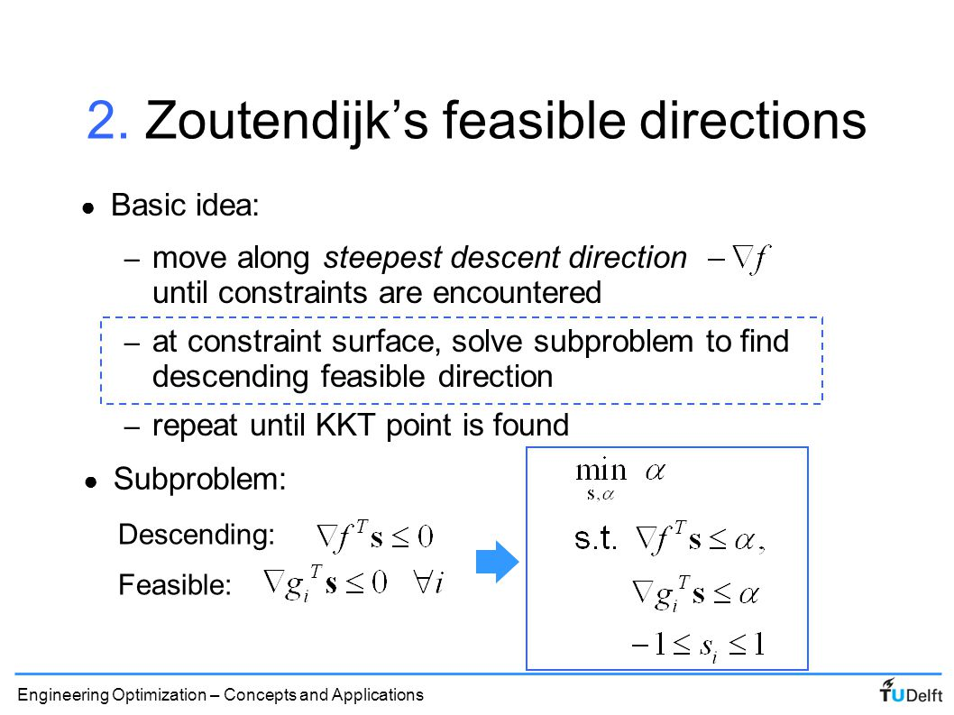2. Zoutendijk's feasible directions