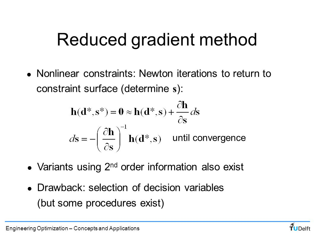 Reduced gradient method