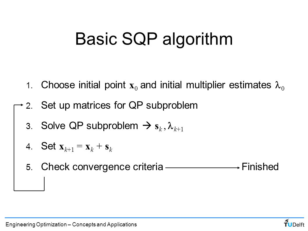 Basic SQP algorithm Choose initial point x0 and initial multiplier estimates l0. Set up matrices for QP subproblem.