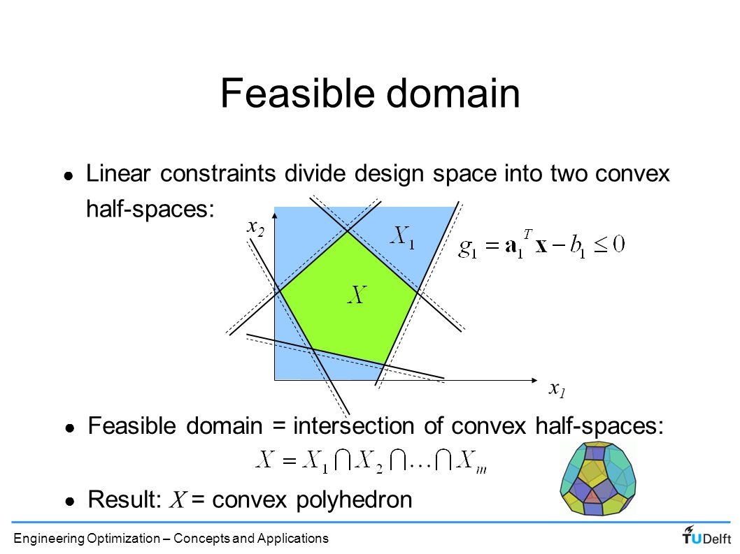 Feasible domain Linear constraints divide design space into two convex half-spaces: x2. x1. Feasible domain = intersection of convex half-spaces: