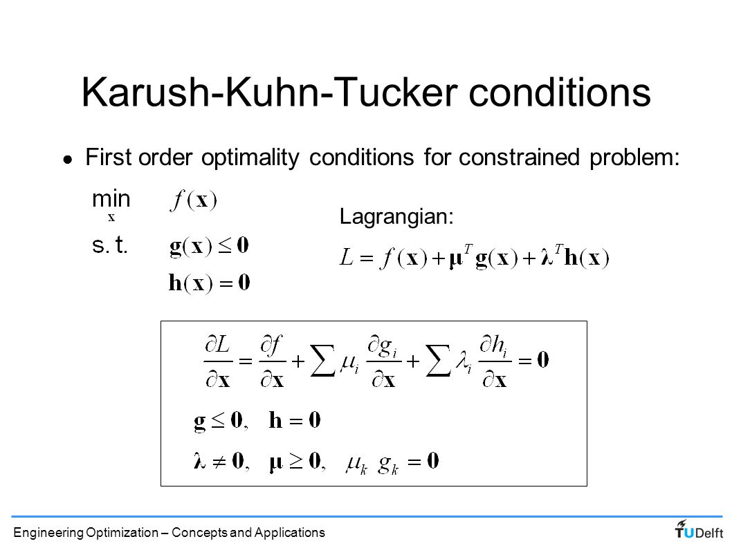 Karush-Kuhn-Tucker conditions