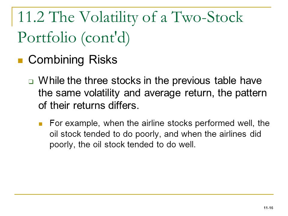 11.2 The Volatility of a Two-Stock Portfolio (cont d)