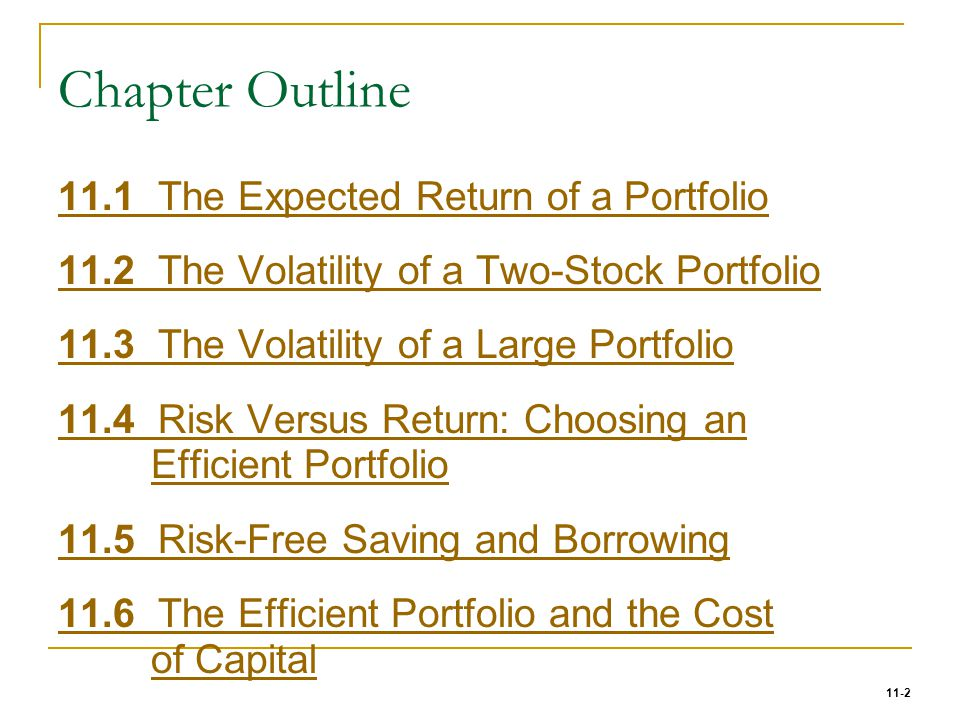 Chapter Outline 11.1 The Expected Return of a Portfolio
