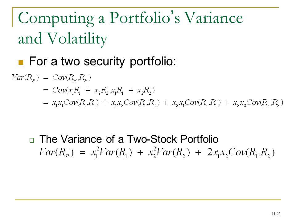 Computing a Portfolio's Variance and Volatility