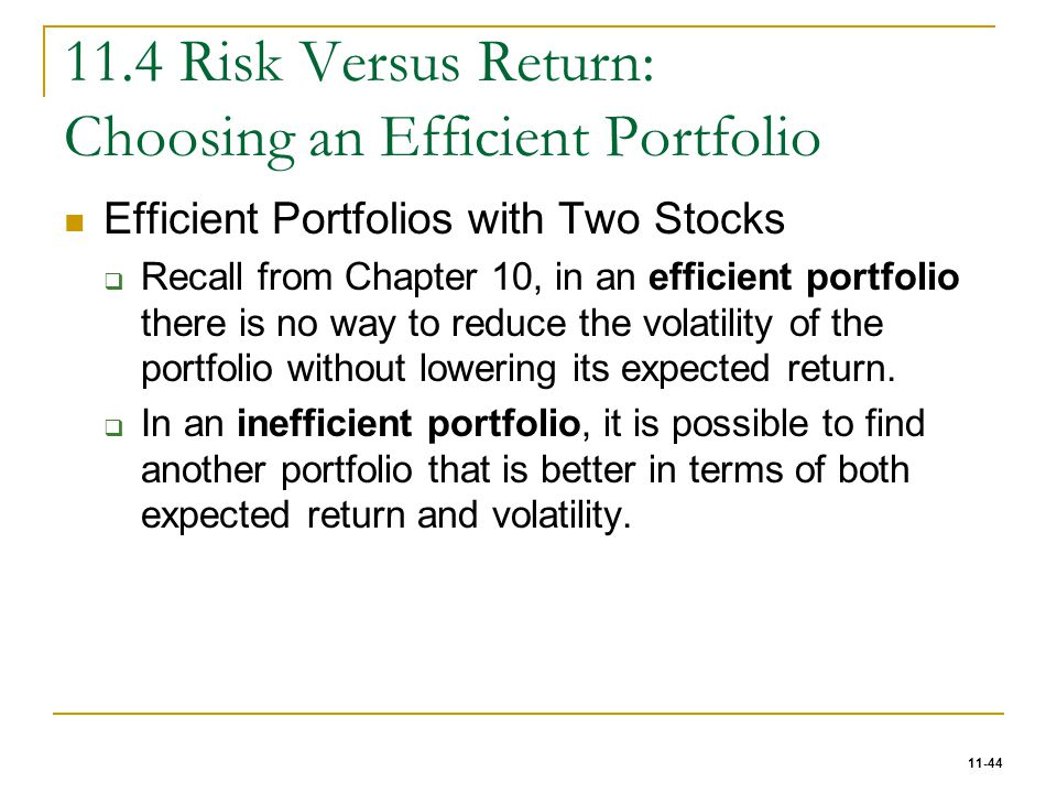 relationship between risk and return for efficient portfolio
