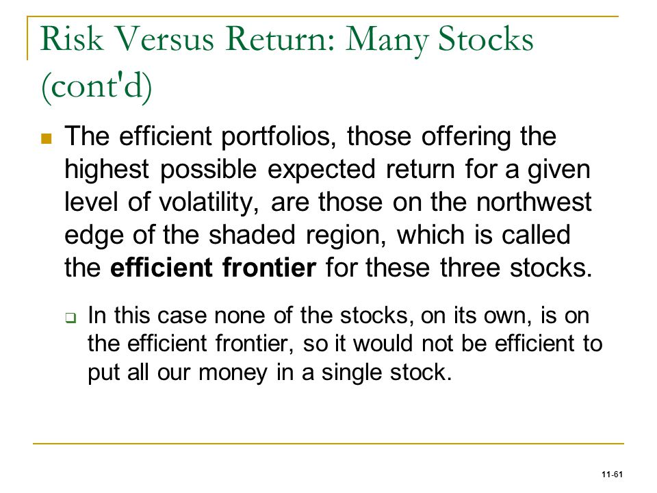 Risk Versus Return: Many Stocks (cont d)