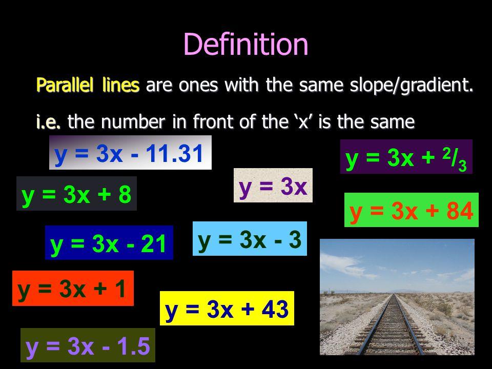 Definition y = 3x - 11.31 y = 3x + 2/3 y = 3x y = 3x + 8 y = 3x + 84