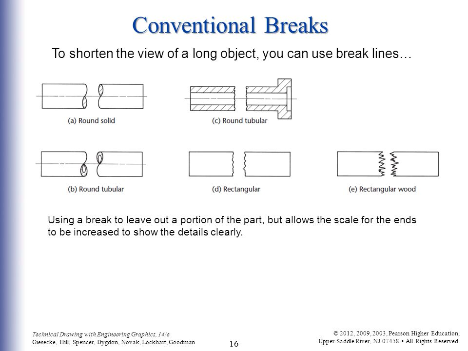 Conventional Breaks To shorten the view of a long object, you can use break lines…