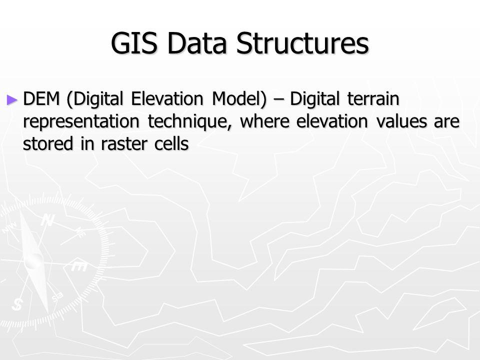 GIS Data Structures DEM (Digital Elevation Model) – Digital terrain representation technique, where elevation values are stored in raster cells.