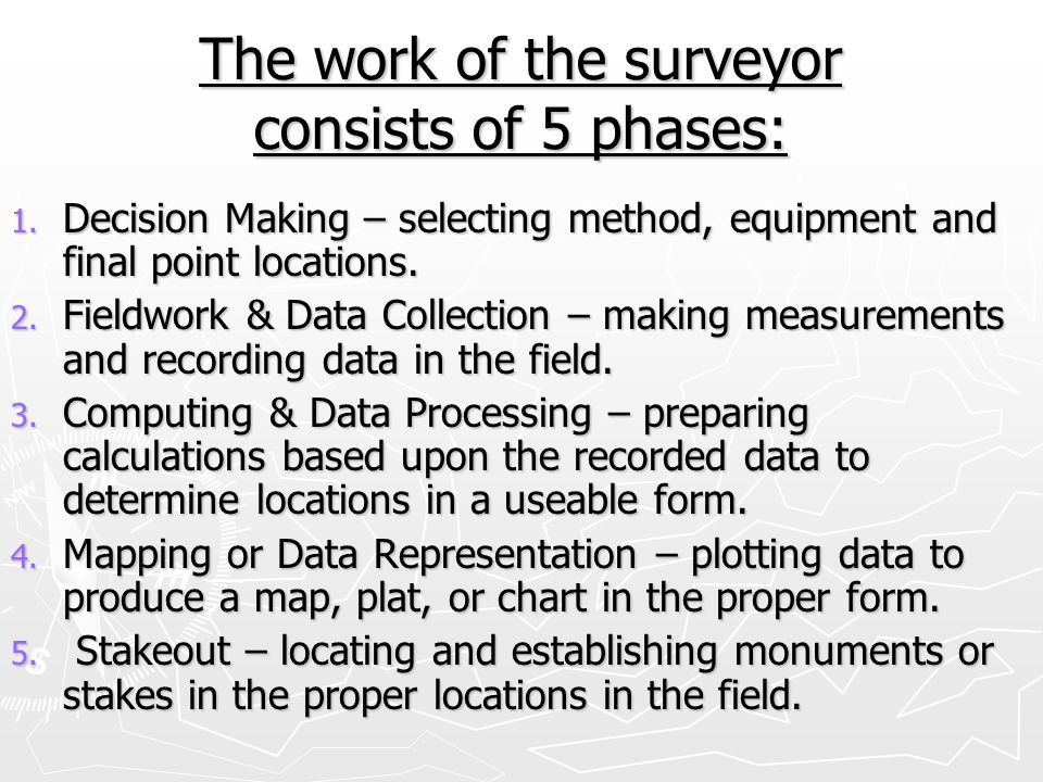 The work of the surveyor consists of 5 phases: