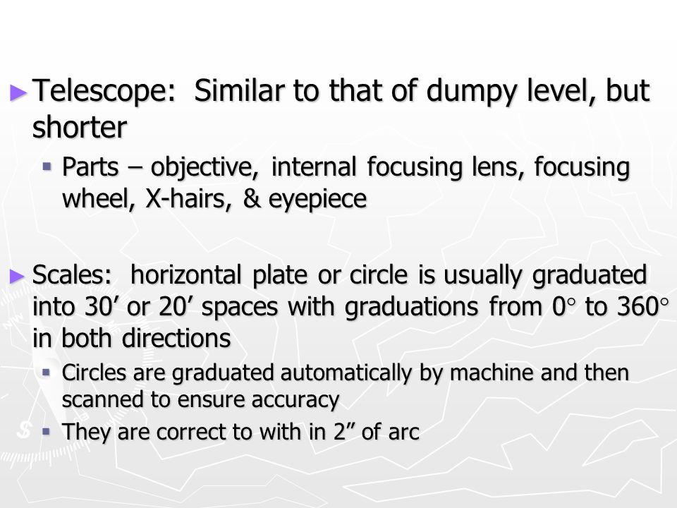 Telescope: Similar to that of dumpy level, but shorter