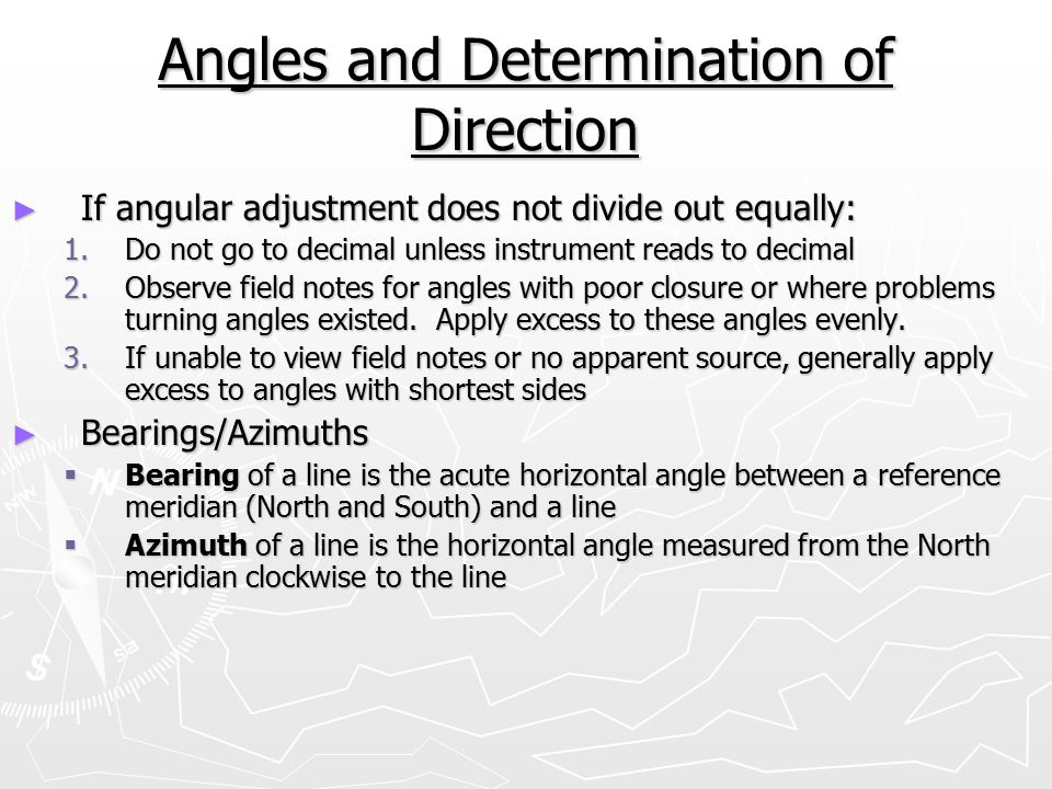 Angles and Determination of Direction