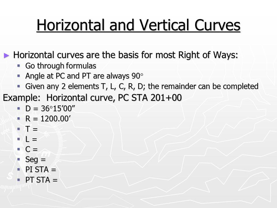 curve formulas surveying