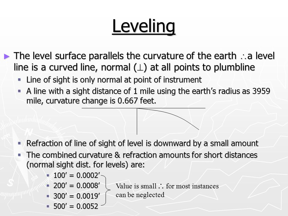 Leveling The level surface parallels the curvature of the earth a level line is a curved line, normal () at all points to plumbline.