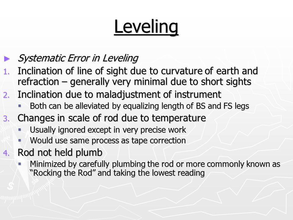 Leveling Systematic Error in Leveling