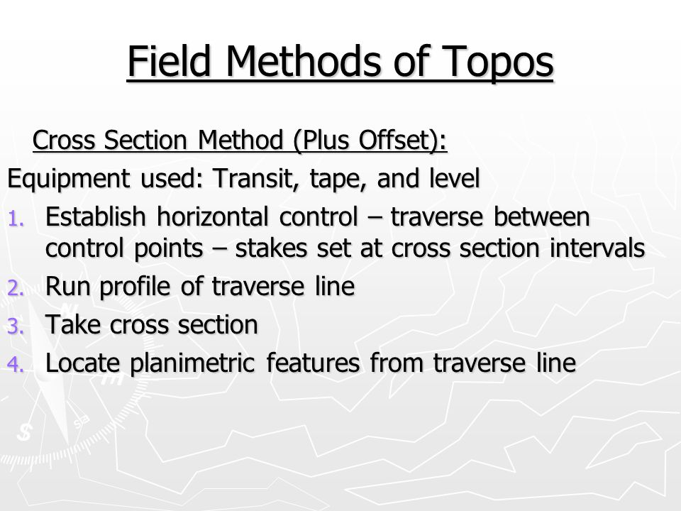 Field Methods of Topos Cross Section Method (Plus Offset):